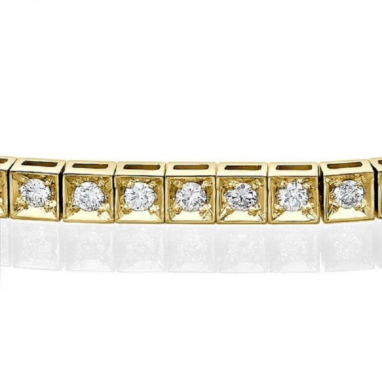 A classic Diamond bracelet made of 14K Yellow Gold set with 56 Diamonds. The total carat weight of this beautiful Diamond bracelet is 1.20 carat, D-F color and VS clarity.    Metal Type:  This bracelet can be made in yellow gold, white gold or rose