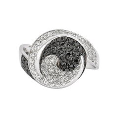 1.2 Carat Black & White Diamond Ring in 14 Karat White Gold