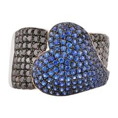 1.2 Carat Blue Sapphire and Black Diamond Ring in 14 Karat White Gold
