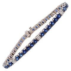 12 Carat Blue Sapphire and Diamond Tennis Bracelet