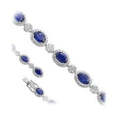 12 Carat Blue Sapphire Fine Jewellery White Diamond White Gold Tennis Bracelet
