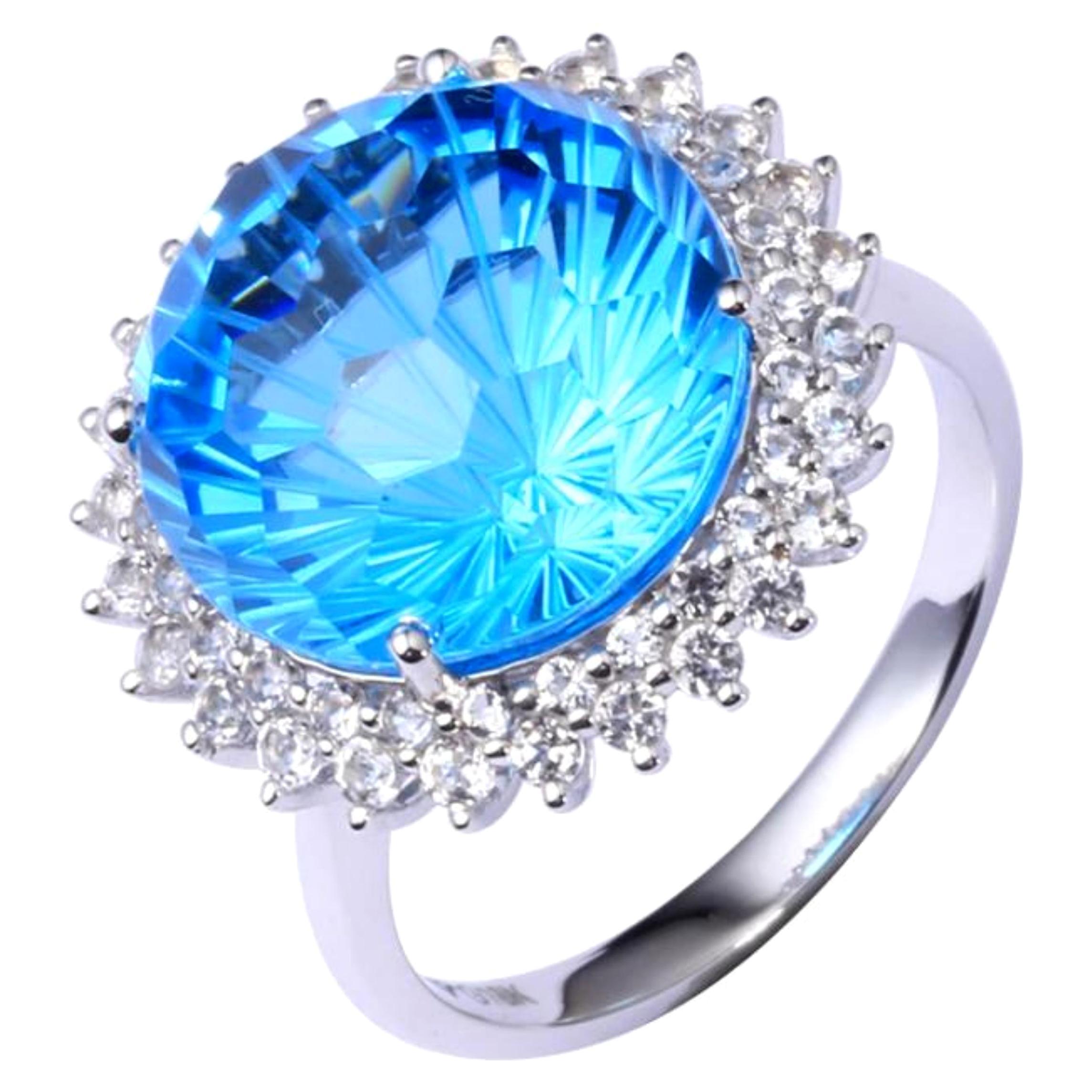 12 Carat Blue Topaz Diamond Ring 18 Karat White Gold