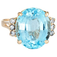 12 Carat Blue Topaz Diamond Ring Estate 14 Karat Gold Oval Cut Cocktail Jewelry