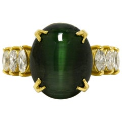 12 Carat Cat's Eye Green Tourmaline Diamond Cocktail Ring Dome Cabochon 18K Gold