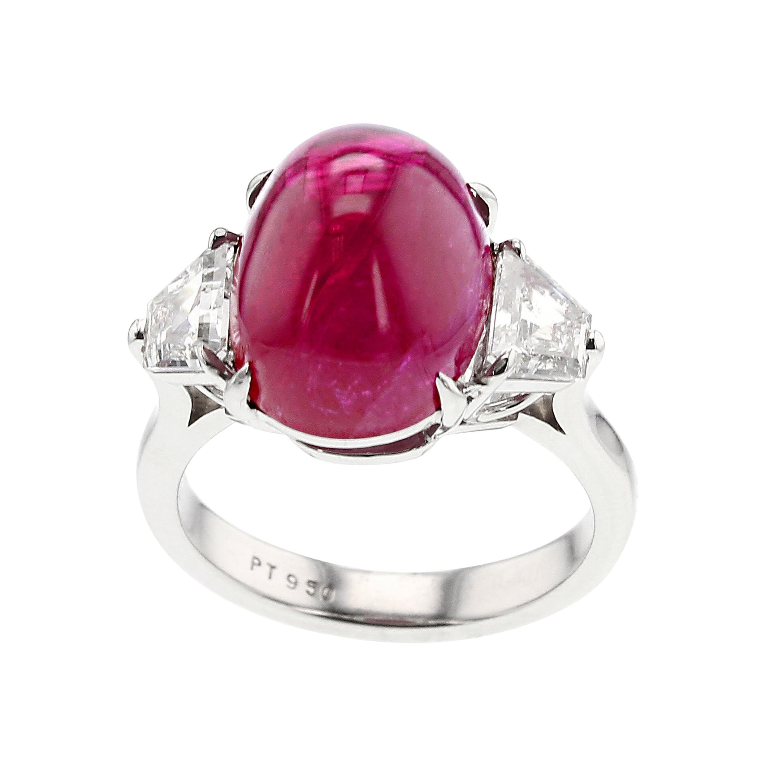 12 Carat Certified Natural Burma No Heat Ruby Diamond Platinum Three-Stone Ring