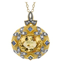 12 ct. Golden Chrysoberyl, Blue Sapphire, Diamond, Yellow, White Gold Pendant