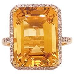 12 Carat Citrine and Diamond Halo Ring 14 Karat Gold Emerald Cut November Gem