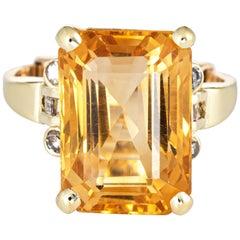 12 Carat Citrine Diamond Ring Vintage 14k Gold Arthritis Band Estate Jewelry