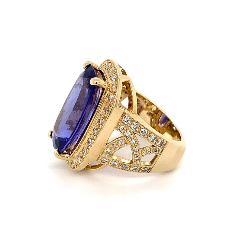 Cushion Cut 12 Carat Cushion Tanzanite and Diamond Gold Cocktail Ring Estate Fine Jewelry For Sale