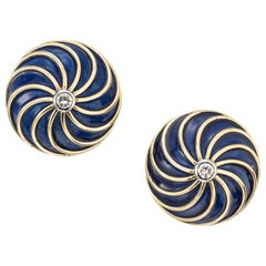 .12 Carat Diamond Blue Enamel Yellow Gold Swirl Design Earrings