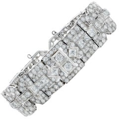 12 Carat Diamond Deco Style Bracelet Set in Platinum