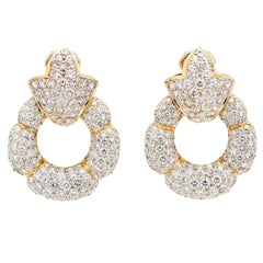 12 Carat Diamond 18k Gold Door Knocker Earrings