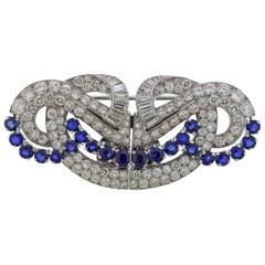 12 Carat Diamond Sapphire Platinum Brooch Clip Set