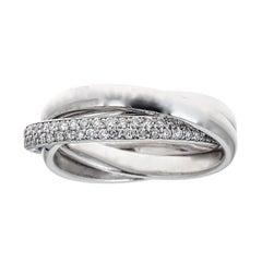 1.2 TCW Classic Triple Twisted Band Diamond Ring Size 6 14 karat White Gold