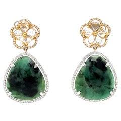 12 Carat Emerald Earrings with Diamonds