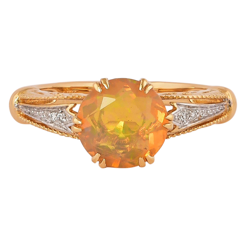 1.2 Carat Ethiopian Opal with Diamond Ring in 18 Karat Yellow Gold