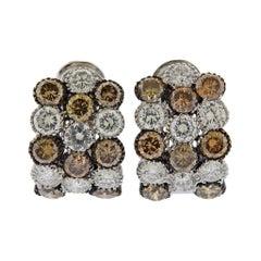 12 Carat Fancy Diamond Gold Earrings