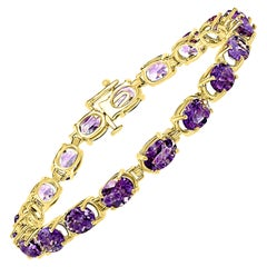 12 Carat Genuine Natural Amethyst Tennis Bracelet 14 Karat Yellow Gold