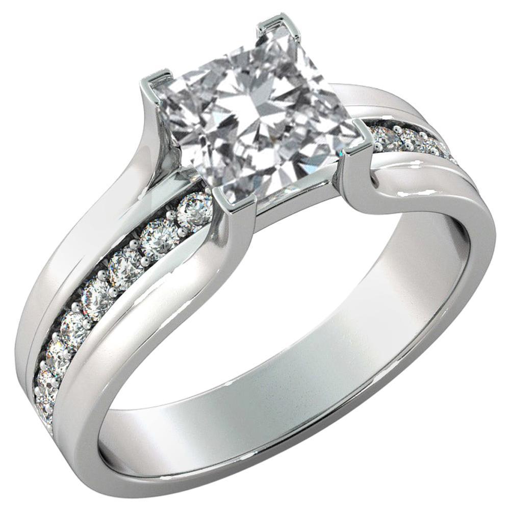 1.2 Carat GIA Princess Diamond Engagement Ring, Bridge Channel Set Diamond Ring
