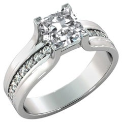 1.2 Carat GIA Princess Diamond Engagement Ring, Bridge Channel Set Diamond Ring