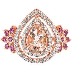 1.2 Carat Morganite with Rhodolite and Diamond Ring in 18 Karat Rose Gold