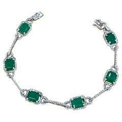 12 Carat Natural Brazil Emerald & 2.5 Ct Diamond Tennis Bracelet 14 Karat W Gold