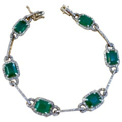 12 Carat Natural Brazil Emerald & 2.5 Ct Diamond Tennis Bracelet 14 Karat Y Gold
