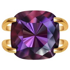 12 Carat Natural Brazilian Purple Amethyst 14 Karat Yellow Gold Cocktail Ring