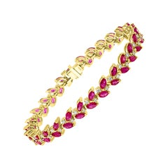 12 Carat Natural Marquis Ruby and Diamond Tennis Bracelet 14 Karat Yellow Gold