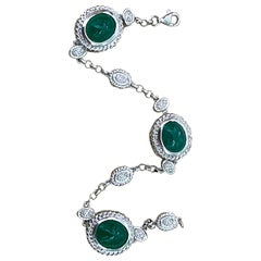 12 Carat Natural Zambian Emerald Cabochon Tennis Bracelet 14 Karat White Gold
