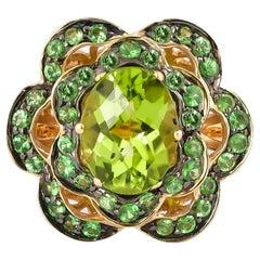 1.2 Carat Peridot and Tsavorite Ring in 14 Karat Yellow Gold