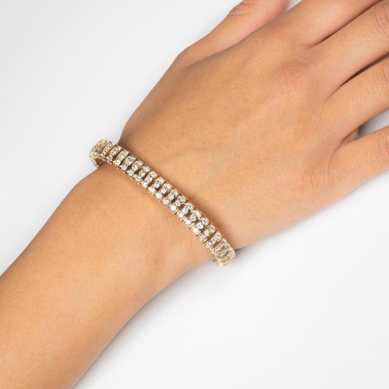 12 Karat inmitten einer Runde natürliche brillanten 14 Karat Gold Armband 2