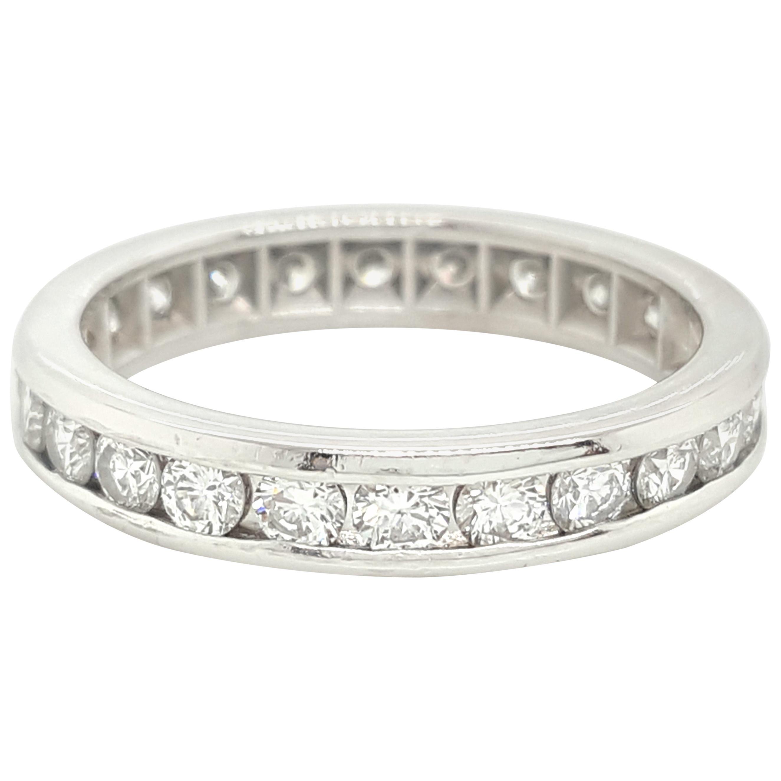 1.2 Carat Round Cut Diamond Vintage Platinum Eternity Band Ring, 1960s