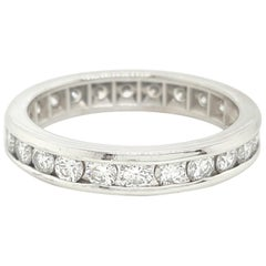 1.2 Carat Round Cut Diamond Vintage Platinum Eternity Band Ring, 1960s