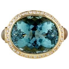12 Carat Teal Quartz and Diamond Ring