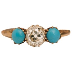 1.2 Carat Victorian Old Mine Cushion Cut and Turquoise Ring, circa 1880s