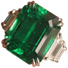 12 Carat Vivid Green Zambian Emerald 5-Stone Diamond Ring