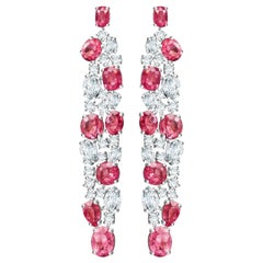 12 Carat Vivid Pink Mahenge Spinel Diamonds 18 Karat White Gold Earrings