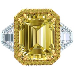 12 Carat Yellow Sapphire Emerald Cut Three-Stone Halo Cocktail Ring