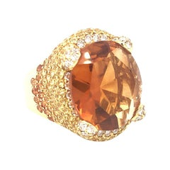 12 Carat Citrine Center and Multi-Color Yellow Sapphire Dome Gold Ring