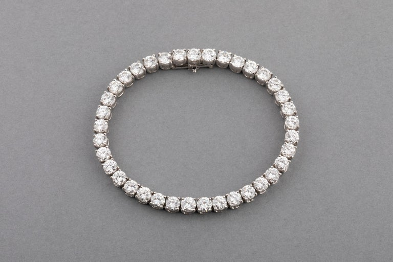 Very beautiful diamond bracelet, with 37 high quality diamonds.  F colour and VS/VVS clarity estimate.  This a top quality bracelet. Made in France.  The bracelet has a Rhinoceros Hall Mark for gold 18K and the mark of the maker.  The year of