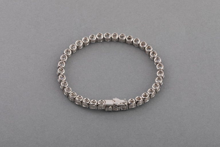 12 Carats Diamonds French Tennis Bracelet In Good Condition For Sale In Saint-Ouen, FR