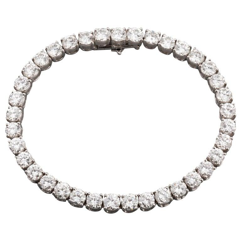 12 Carats Diamonds French Tennis Bracelet For Sale