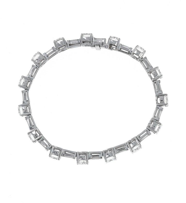 Retro 12 Carat Mixed Shape Straight Line Tennis Bracelet, Platinum For Sale