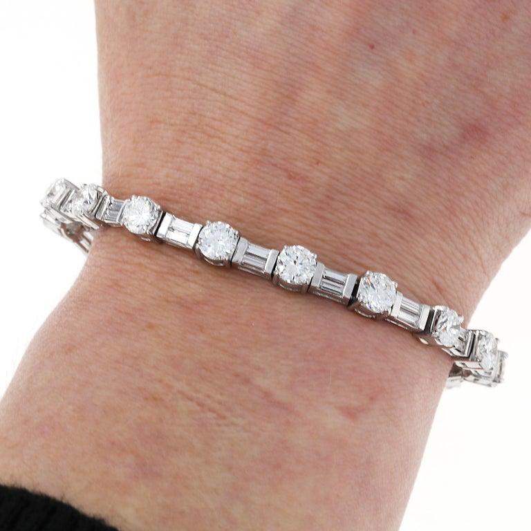 Round Cut 12 Carat Mixed Shape Straight Line Tennis Bracelet, Platinum For Sale