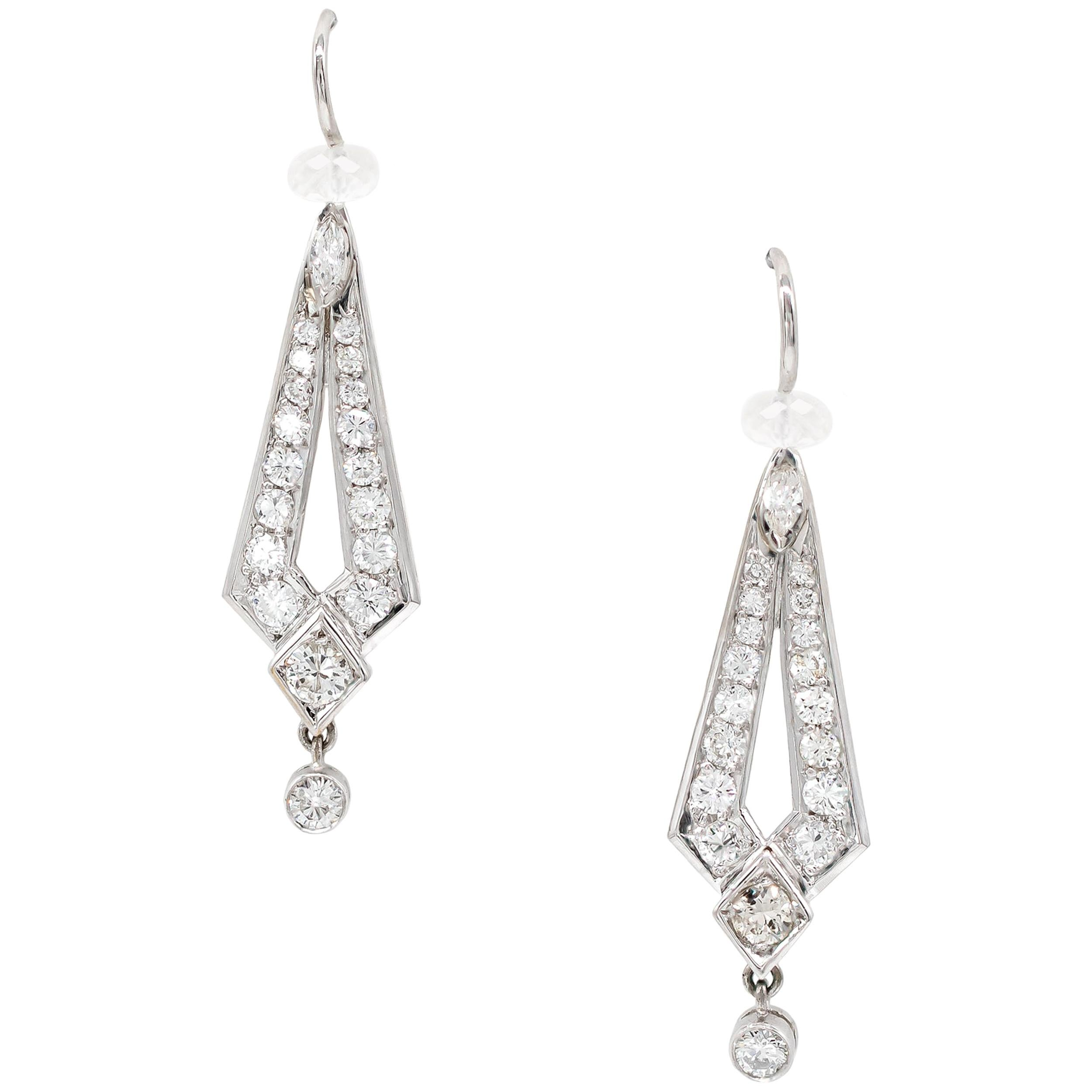 1.2 Carats Moonstone and Diamond Earrings Set in Platinum