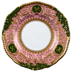 12 Coalport Pink and Green Heavily Gilded Plates Featuring Musical Instruments