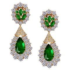 12 Ct Pear shape Zambian Emerald & 18 Ct Diamonds Drop/Clip Earrings 18K Y Gold