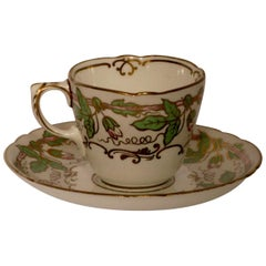 12 Cups and Saucers, Worcester, Antique Porcelain, 1820-1840, Handmade, England