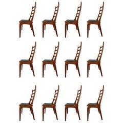 12 Danish Modern Teak Ladder Back Dining Chairs by Kai Kristiansen, 1960s